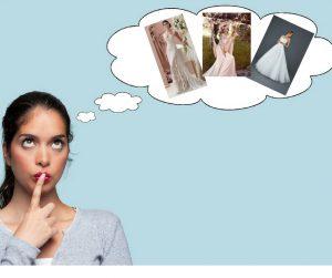 sposa indecisa sulla scelta dell'abito da sposa