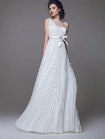 vestitoda sposa scivolato stile impero monospalla in organza plissè e raso