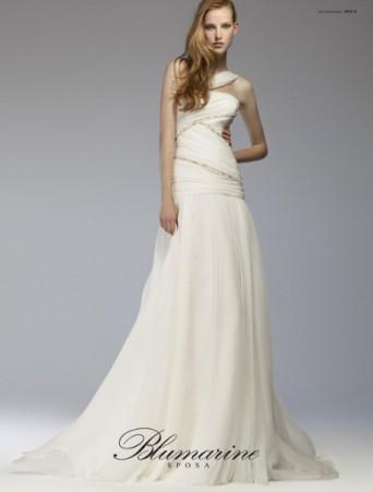 abito da sposa blumarine vita bassa scivolato in organza corpetto drappeggiato