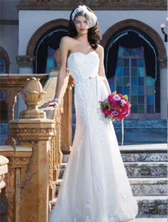 vestito da sposa sincerity mezza sirena in organza e pizzo decollete a cuore cinturina con strass
