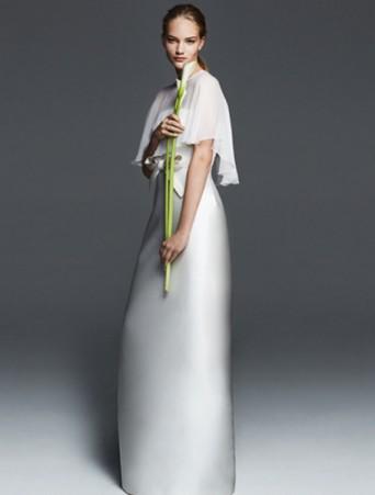 vestito da sposa max mara ad anfora in mikado con mantelina in georgette