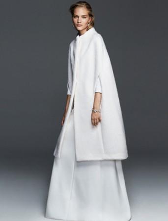 vestito da sposa max mara in mikado con mantella tre quarti in panno lana angora