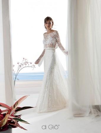 abito da sposa scivolato due pezzi casacca a manica lunga in pizzo di cotone stile boho