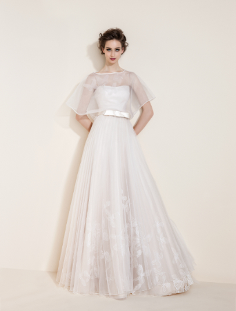 vestito da sposa tosca spose svasato doppiato in organza stampata plissè