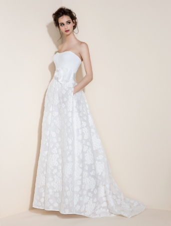 vestito da sposa a vita alta corpetto decollete in cady con gonna svasata in organza stampata