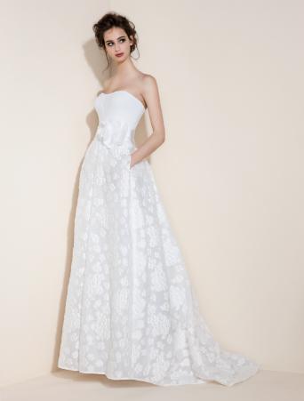 vestito da sposa a vita alta corpetto decollete in cady con gonna svasata in organza stampata