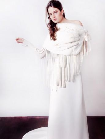 vestiti da sposa Joelia tubino con scialle in pelliccia