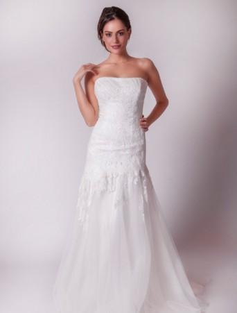 vestito da sposa mezza sirena decollete pizzo e organza joelia