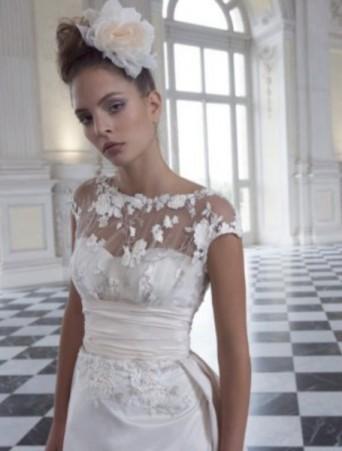 vestito da sposa vittoria bonini doppiato in tulle operato maniche raglan cintura vita alta in taffetà rosa
