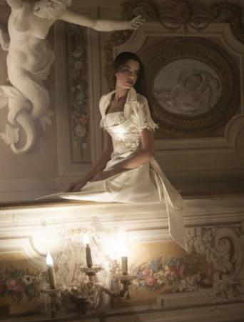 vestito da sposa Vittoria Bonini svasato in mikado e pizzo con giacchino manica corta