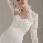 coprispalle sposa con rouches in pizzo chantilly manica lunga