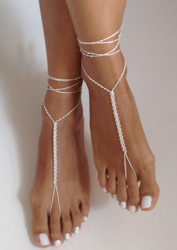 sandalo sposa piede nudo uncinetto
