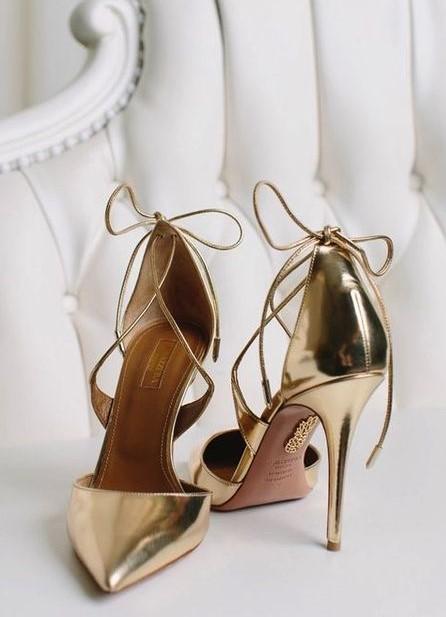 scarpe da sposa oro cromato