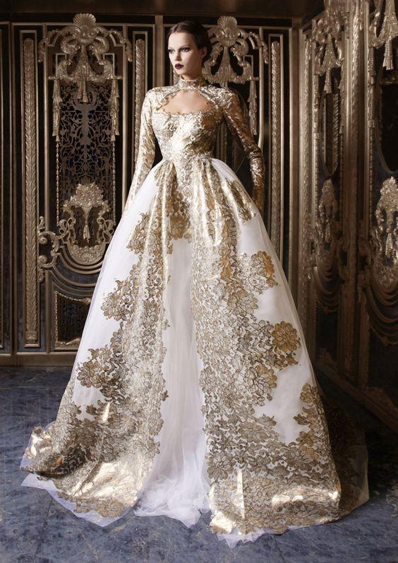 abito da sposa baroque avorio e oro