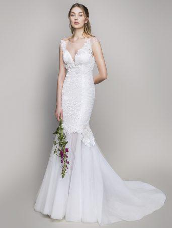 vestito da sposa Le Spose di Giò due pezzi a sirena in pizzo valencienne ed organza con scollo a V