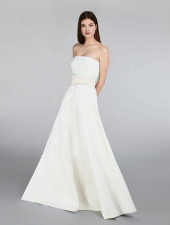 vestito da sposa max mara bustier in radzmir gonna ampia leggermente svasata cintura in tessuto gros grain con fiocco costruito. tasche sui fianchi