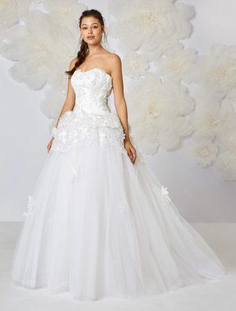 vestito da sposa Atelier Emè corpetto vita bassa organza con fiori tre D gonna ampia in tulle