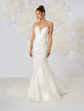 Atelier Eme vestito da sposa a sirena in organza ricamata con scollo sottoveste