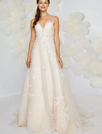 vestito da sposa Atelier Emè svasato in organza ricamata scollo a V con spalline a canottiera velate