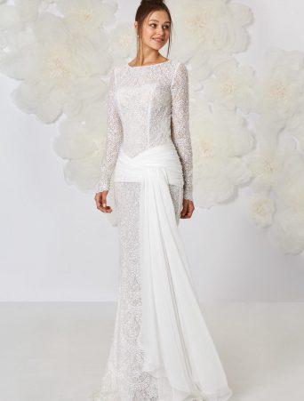vestito da sposa Atelier Emè a sirena in pizzo macrame manica lunga girocollo alta fascia in georgette