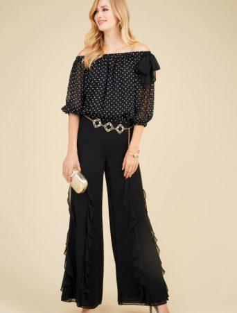 luisa spagnoli abito da cerimonia camicia e pantalone palazzo in georgette