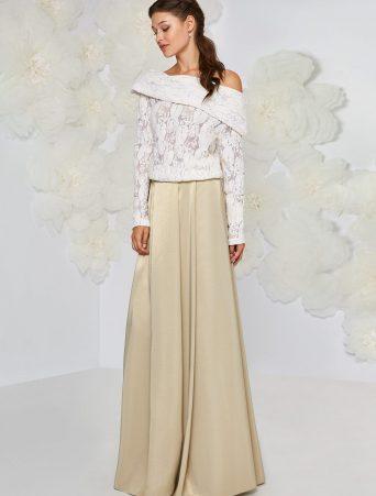 vestito da sposa Atelier Emè due pezzi gonna scivolata in radzmir e maglia manica lunga in pizzo lana collo sciallato omerale