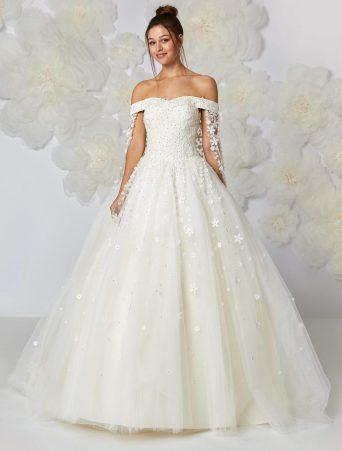 vestito da sposa ampio Atelier Emè scollatura omerale pizzo e tulle