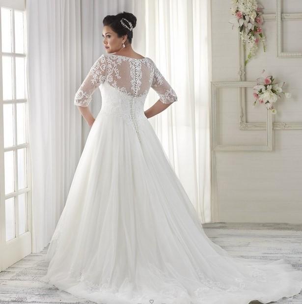 vestito da sposa curvy con strascico