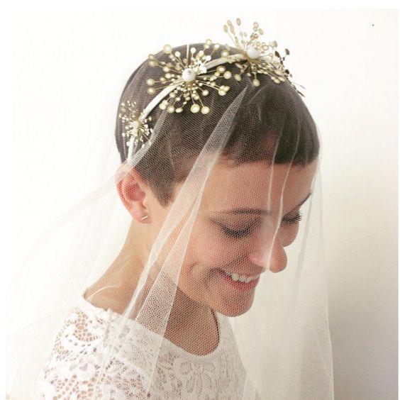 velo da sposa per sposa con capelli corti