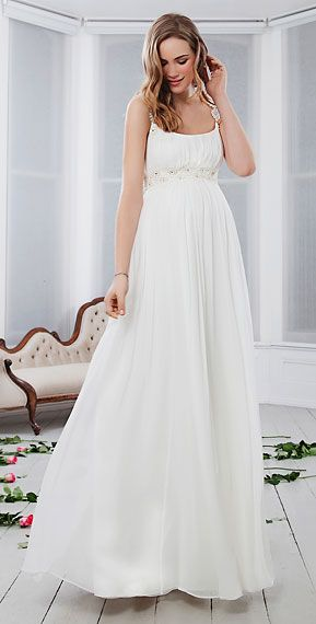 abito da sposa stile impero per sposa incinta