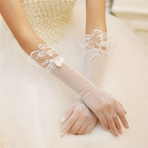 guanti da sposa a rete con pizzo lunghezza media