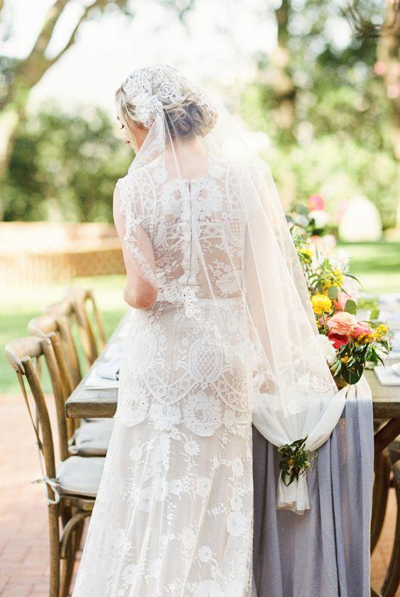 velo da sposa indossato a calotta anni trenta