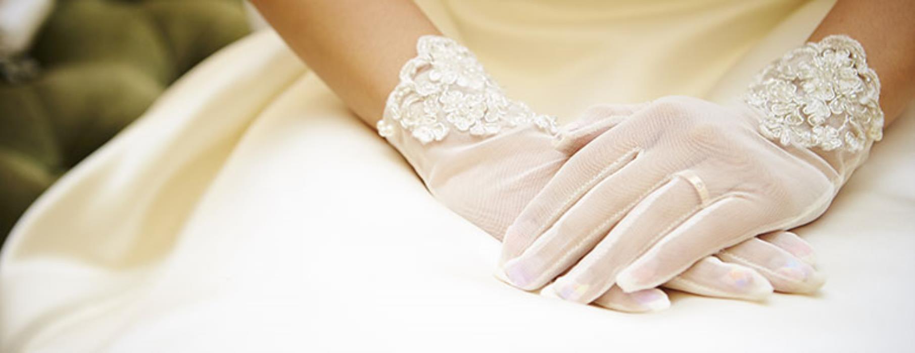 guantini da sposa in organza e pizzo
