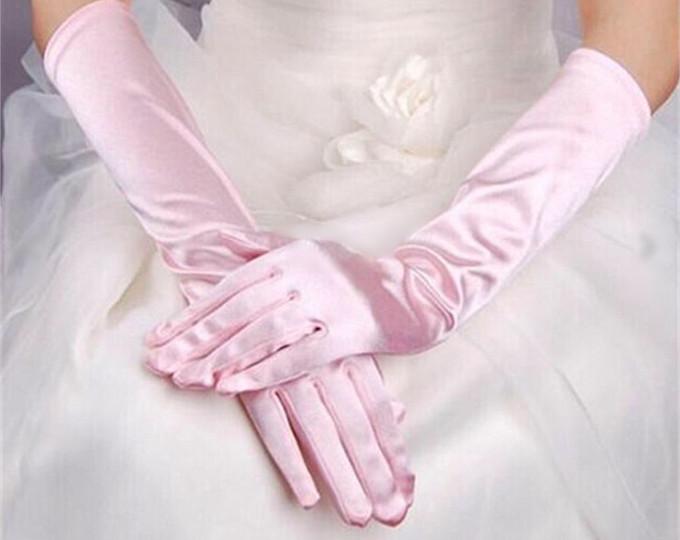 guanti da sposa lunghi in raso rosa