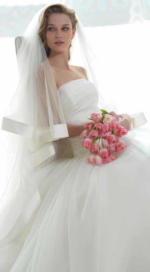 velo da sposa con bordo in raso alto