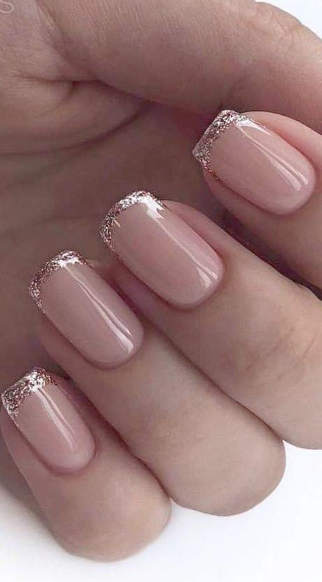 unghie sposa rosa e french glitter