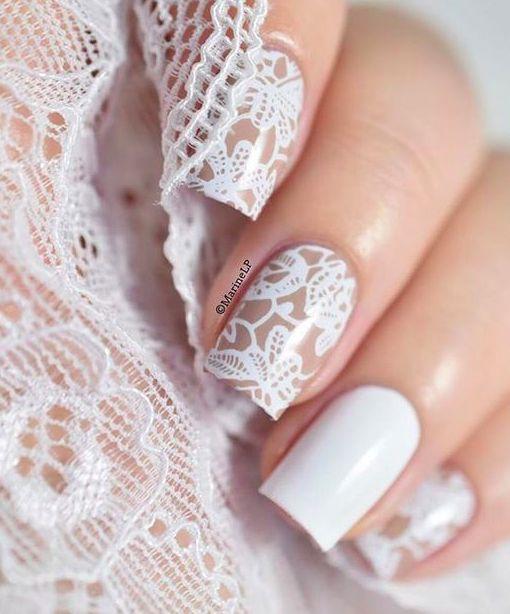 manicure sposa con nail art effetto pizzo