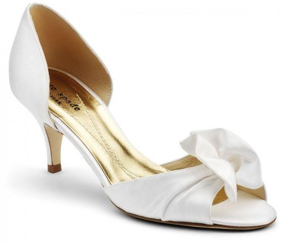 scarpa da sposa con tacco 5 cm in raso bianco