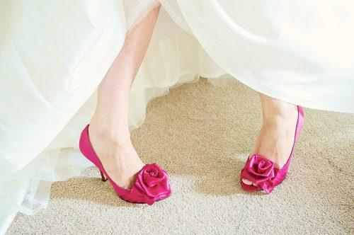 scarpe da sposa in raso fuxia