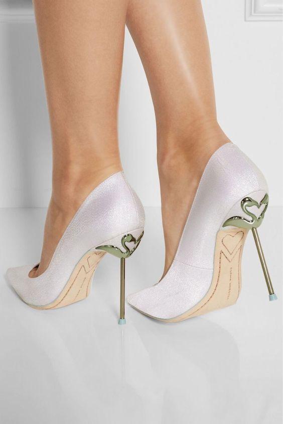 scarpe da sposa con tacco in metallo