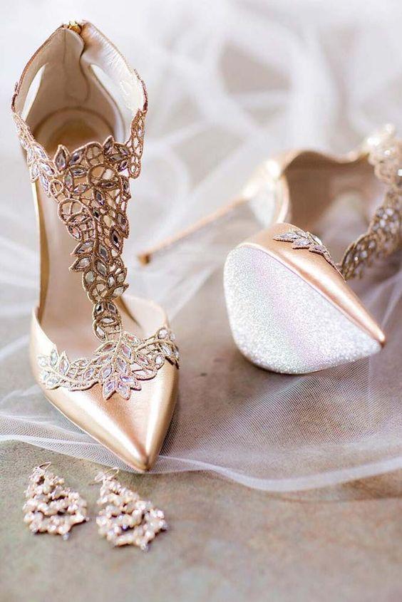 scarpe da sposa con inserti in pizzo