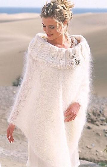 poncho da sposa in lana