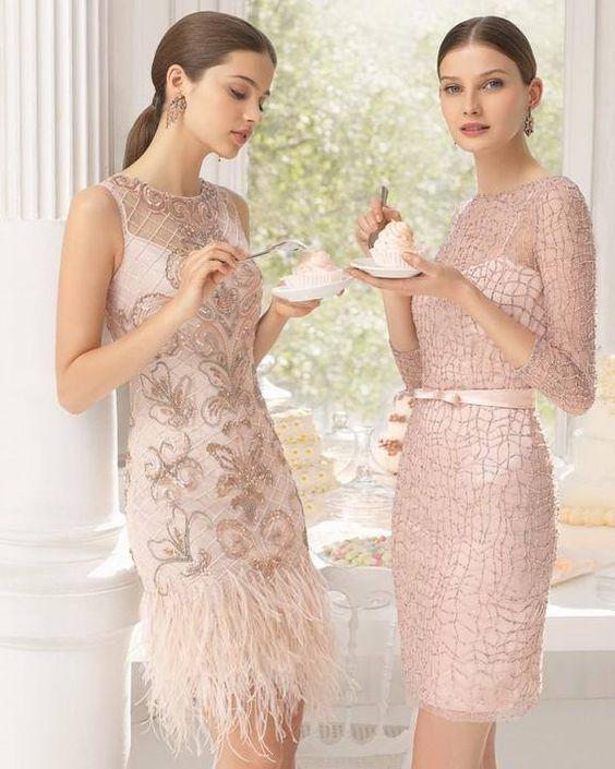 abiti da sposa corti ricamati rosa