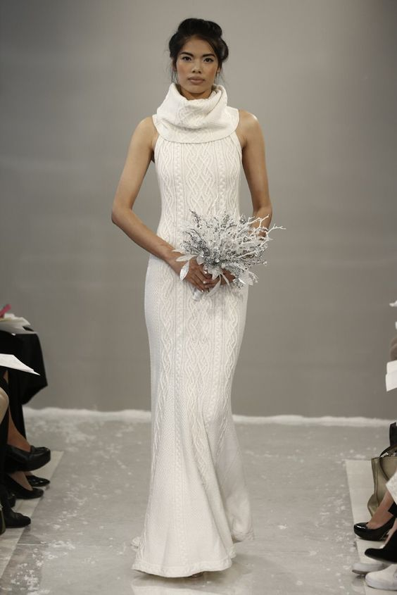 abito da sposa in lana a trecce