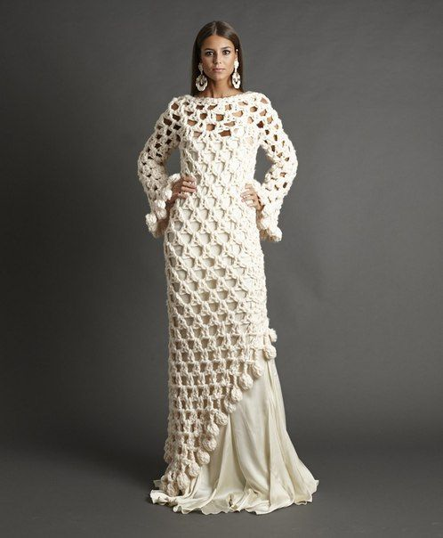 abito da sposa boho chic fatto a maglia