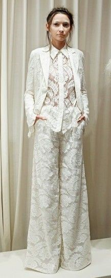 tailleur pantalone sposa in pizzo
