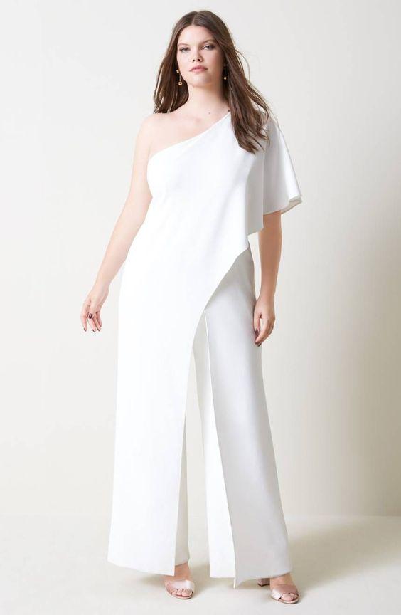abito per sposa curvy con pantaloni