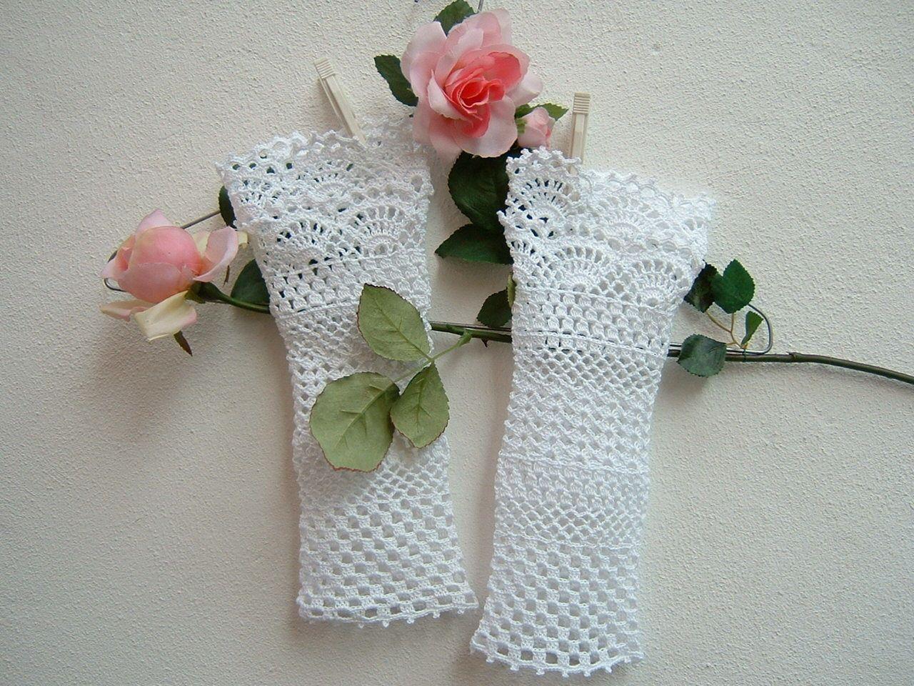 guanti senza dita sposa fatti ad uncinetto