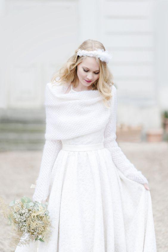 coprispalle sposa invernale ad anello con manicotti