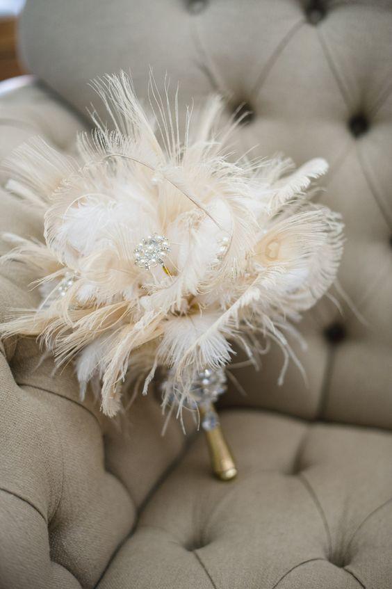 bouquet da sposa di piume